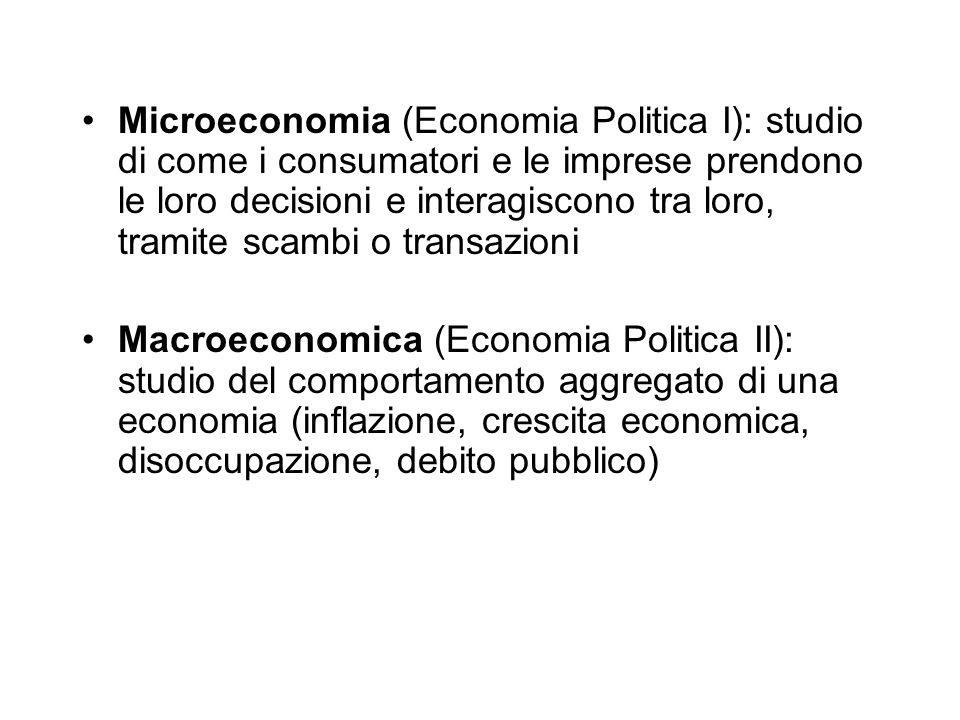 Microeconomia (Economia Politica I): studio di come i consumatori e le imprese prendono le loro decisioni e interagiscono tra loro, tramite scambi o transazioni