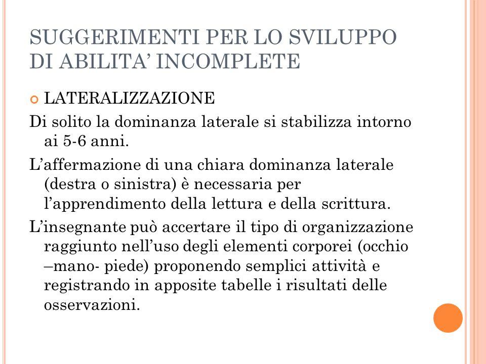 SUGGERIMENTI PER LO SVILUPPO DI ABILITA' INCOMPLETE