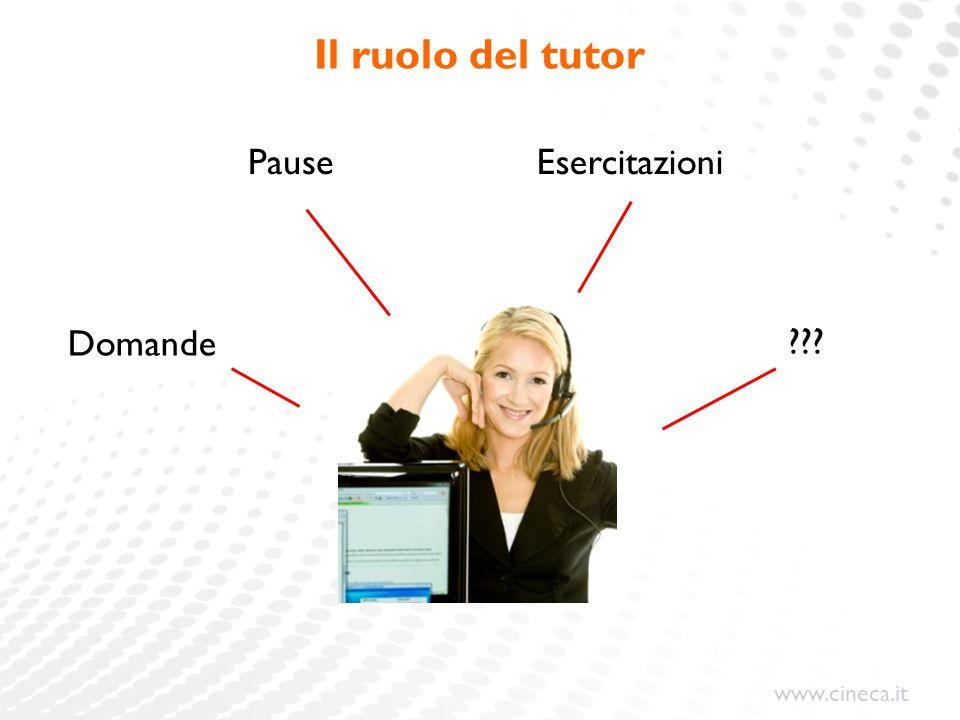 Il ruolo del tutor Pause Esercitazioni Domande