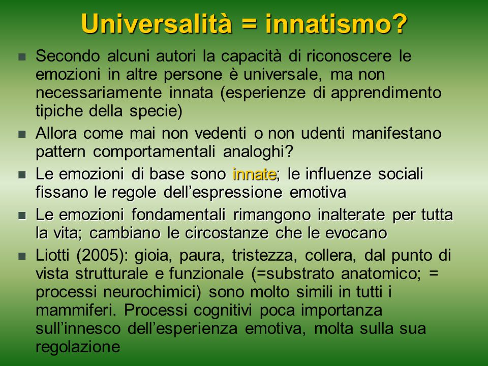 Universalità = innatismo