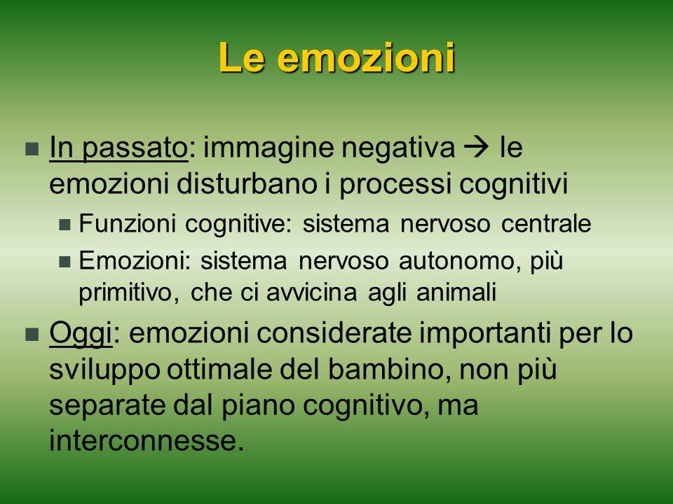 Le emozioni In passato: immagine negativa  le emozioni disturbano i processi cognitivi. Funzioni cognitive: sistema nervoso centrale.