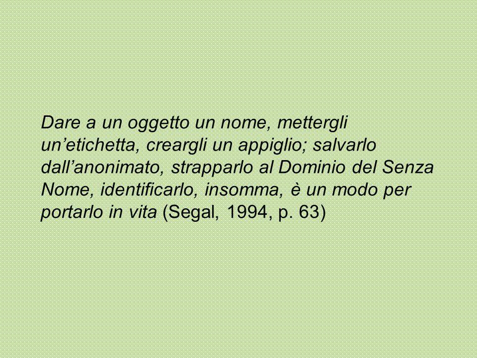 Dare a un oggetto un nome, mettergli un'etichetta, creargli un appiglio; salvarlo dall'anonimato, strapparlo al Dominio del Senza Nome, identificarlo, insomma, è un modo per portarlo in vita (Segal, 1994, p.