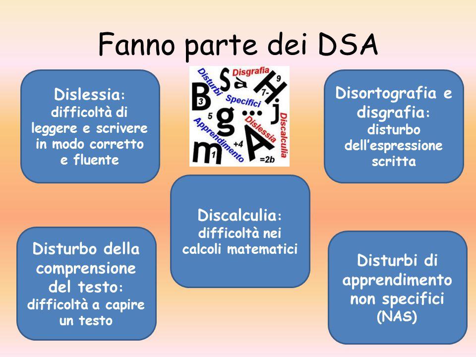 Fanno parte dei DSA Dislessia: difficoltà di leggere e scrivere in modo corretto e fluente.