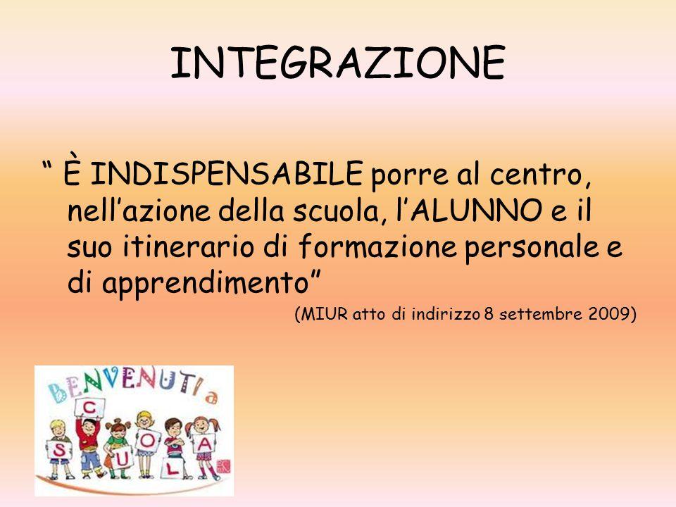 INTEGRAZIONE È INDISPENSABILE porre al centro, nell'azione della scuola, l'ALUNNO e il suo itinerario di formazione personale e di apprendimento