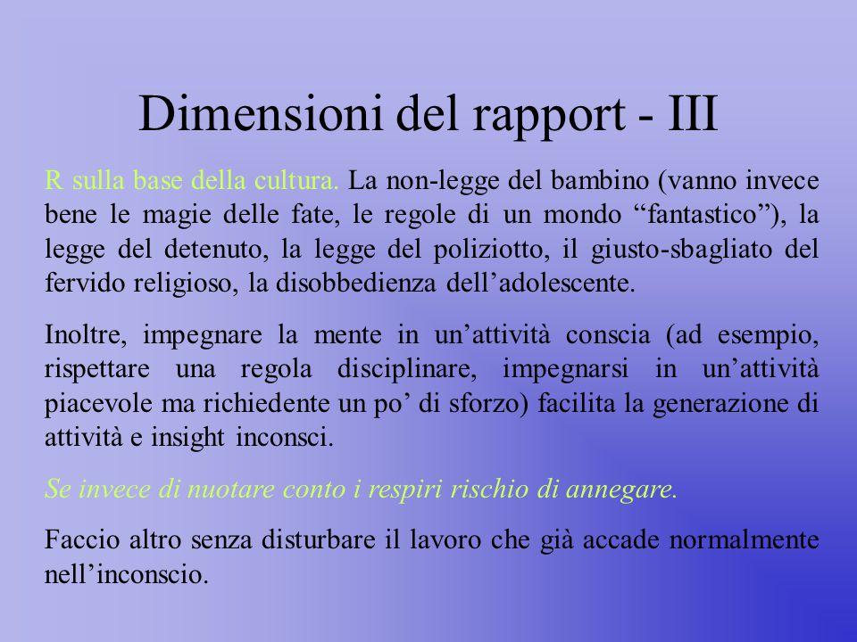 Dimensioni del rapport - III