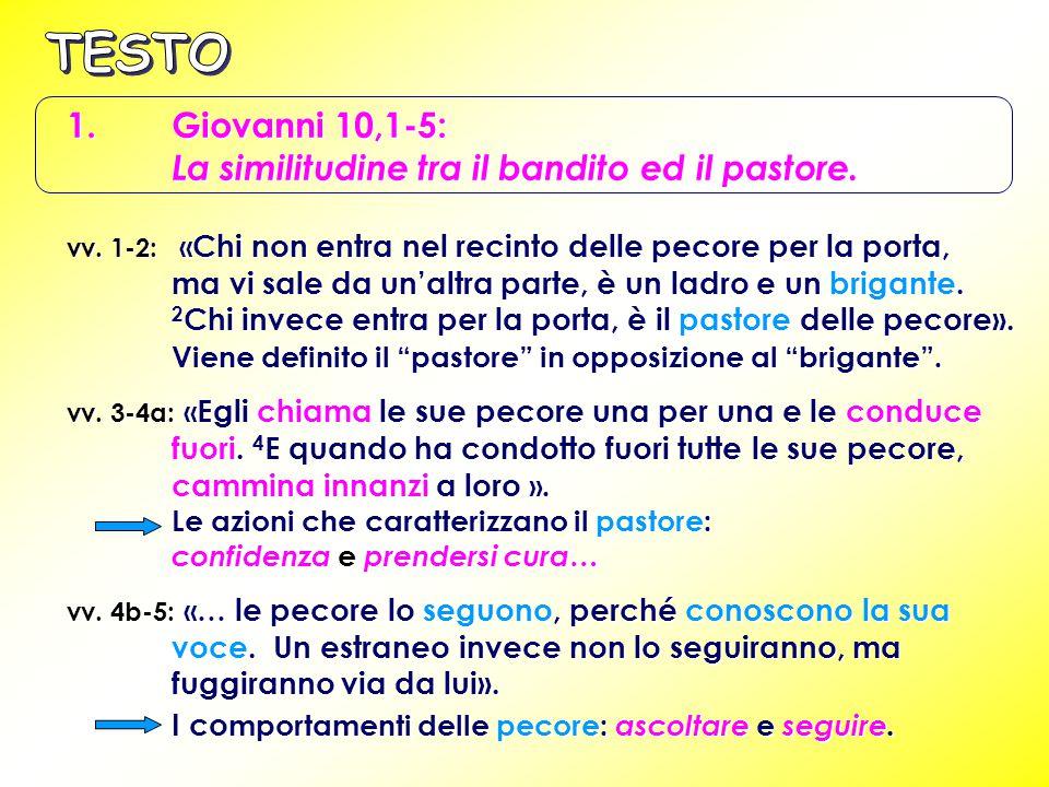 TESTO 1. Giovanni 10,1-5: La similitudine tra il bandito ed il pastore.