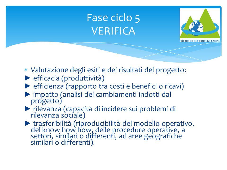 Fase ciclo 5 VERIFICA Valutazione degli esiti e dei risultati del progetto: ► efficacia (produttività)