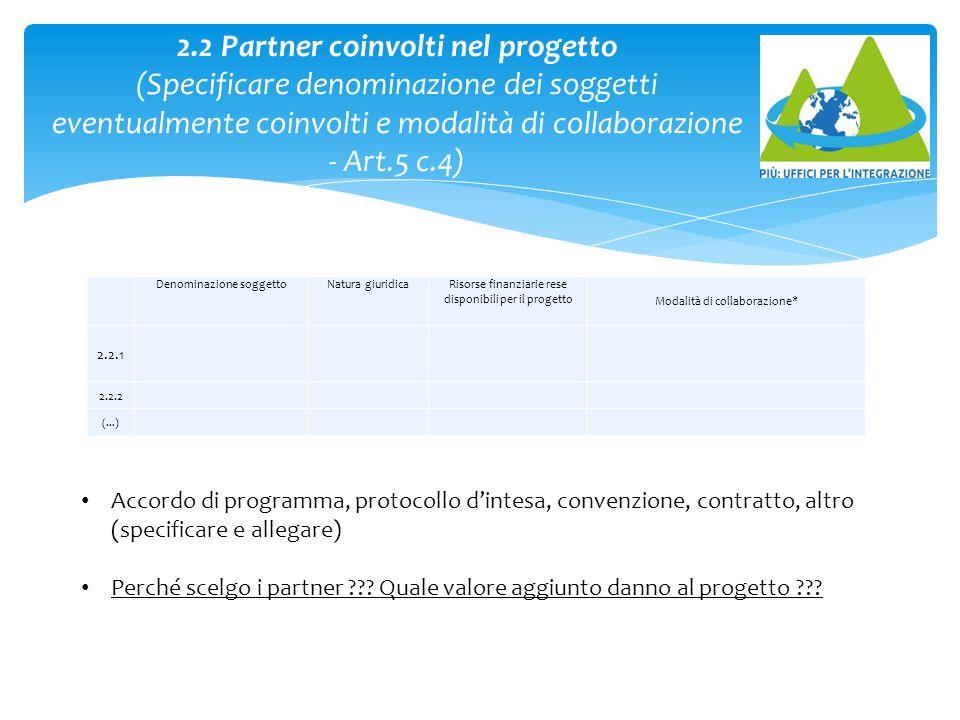 2.2 Partner coinvolti nel progetto (Specificare denominazione dei soggetti eventualmente coinvolti e modalità di collaborazione - Art.5 c.4)