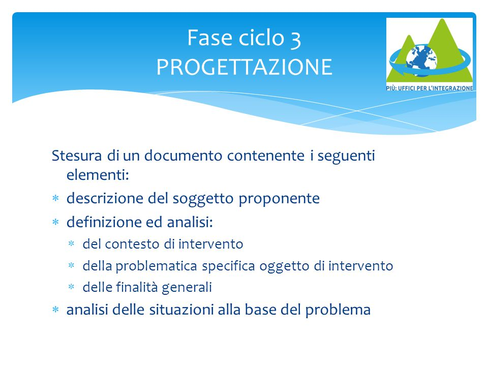 Fase ciclo 3 PROGETTAZIONE