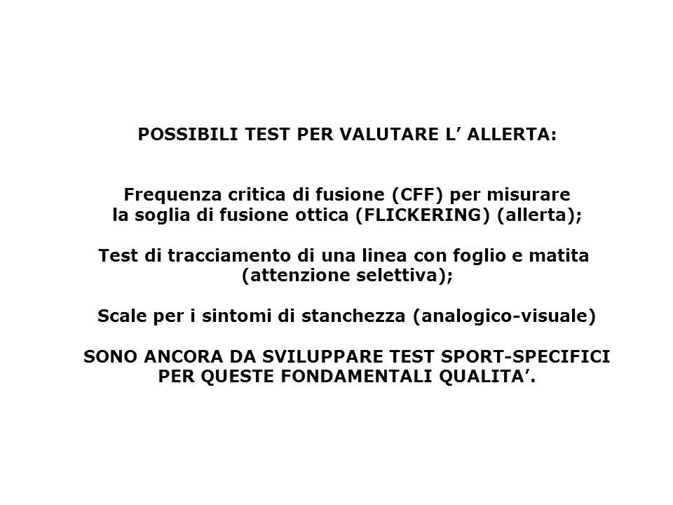 POSSIBILI TEST PER VALUTARE L' ALLERTA: