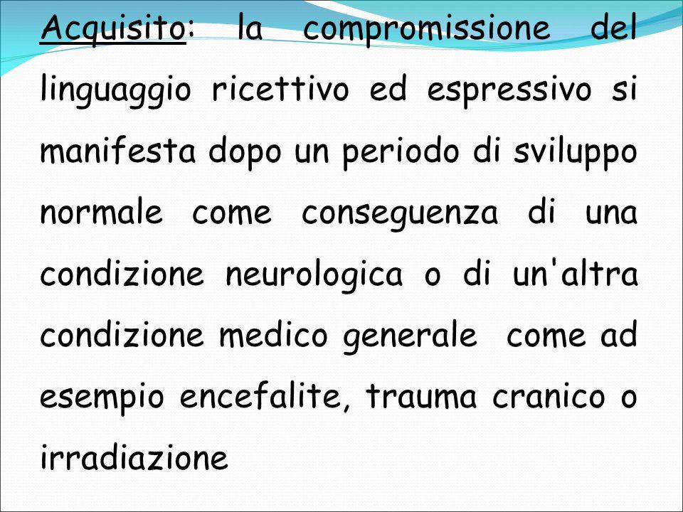Acquisito: la compromissione del linguaggio ricettivo ed espressivo si manifesta dopo un periodo di sviluppo normale come conseguenza di una condizione neurologica o di un altra condizione medico generale come ad esempio encefalite, trauma cranico o irradiazione
