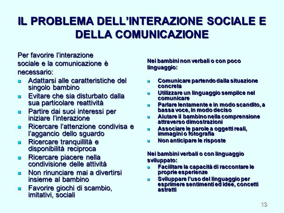 IL PROBLEMA DELL'INTERAZIONE SOCIALE E DELLA COMUNICAZIONE