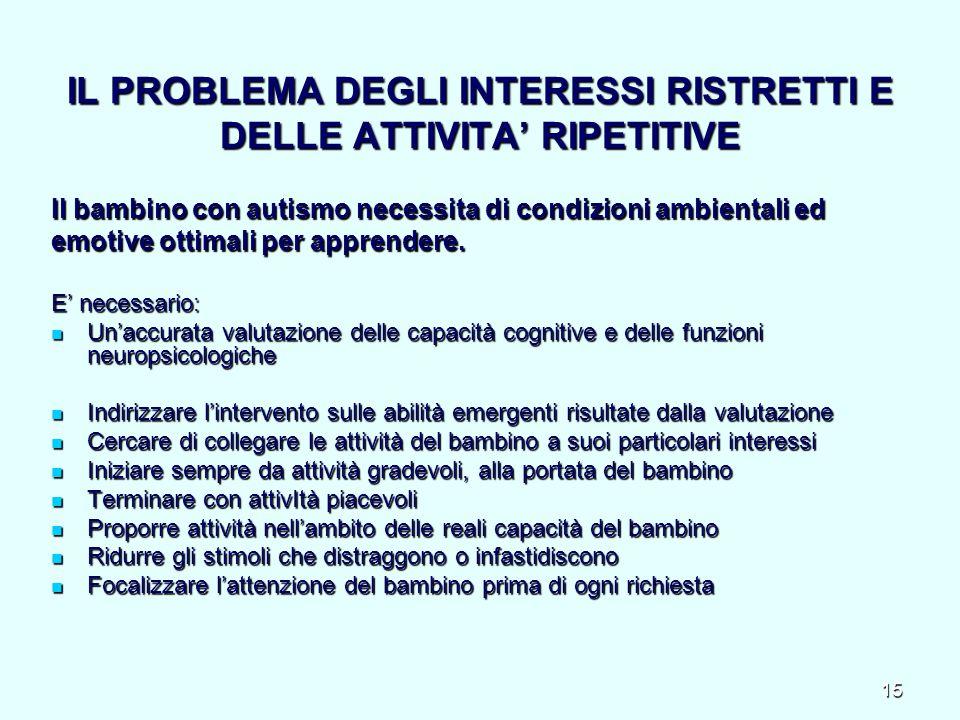IL PROBLEMA DEGLI INTERESSI RISTRETTI E DELLE ATTIVITA' RIPETITIVE