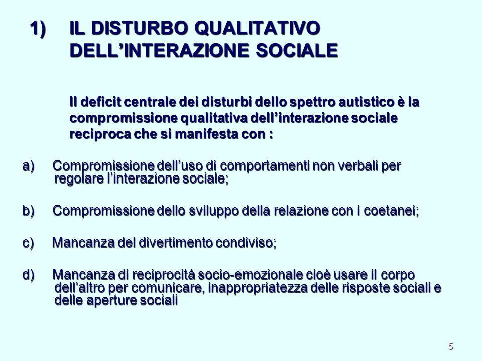 IL DISTURBO QUALITATIVO DELL'INTERAZIONE SOCIALE Il deficit centrale dei disturbi dello spettro autistico è la compromissione qualitativa dell'interazione sociale reciproca che si manifesta con :