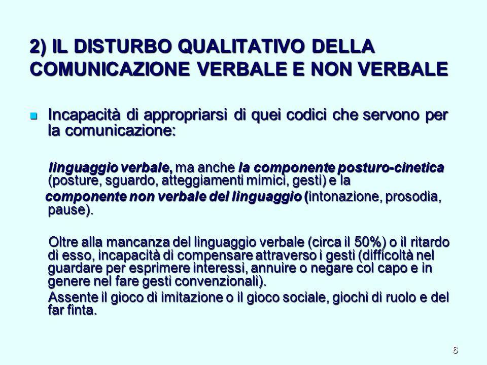 2) IL DISTURBO QUALITATIVO DELLA COMUNICAZIONE VERBALE E NON VERBALE