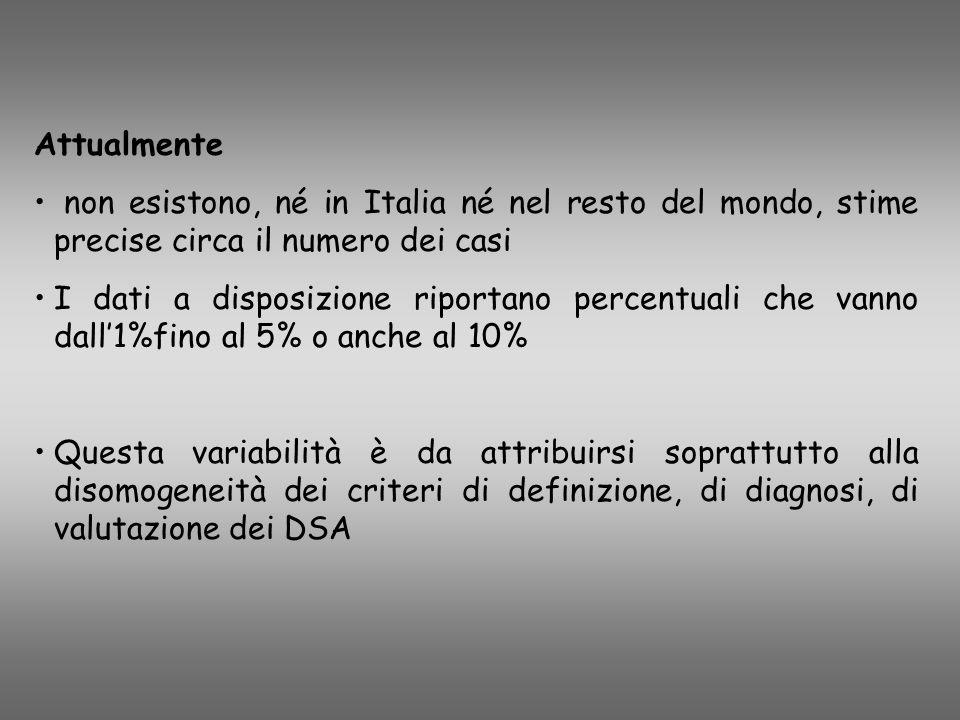 Attualmente non esistono, né in Italia né nel resto del mondo, stime precise circa il numero dei casi.