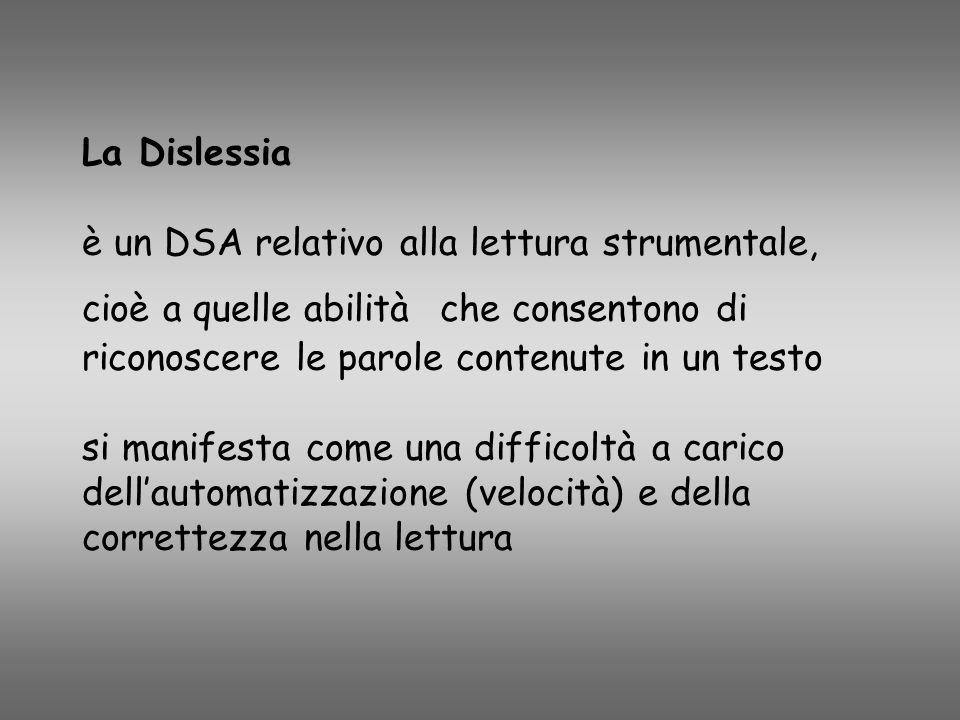 La Dislessia è un DSA relativo alla lettura strumentale, cioè a quelle abilità che consentono di riconoscere le parole contenute in un testo si manifesta come una difficoltà a carico dell'automatizzazione (velocità) e della correttezza nella lettura