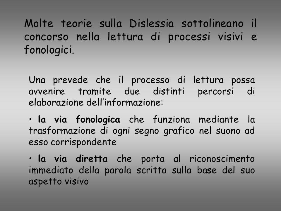 Molte teorie sulla Dislessia sottolineano il concorso nella lettura di processi visivi e fonologici.