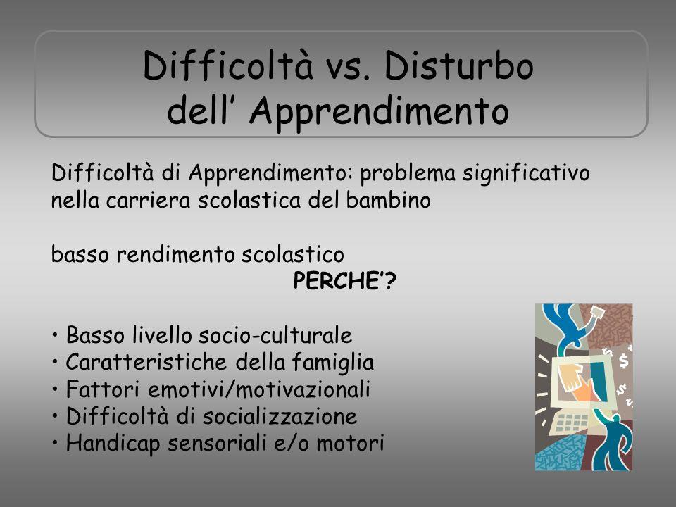 Difficoltà vs. Disturbo dell' Apprendimento