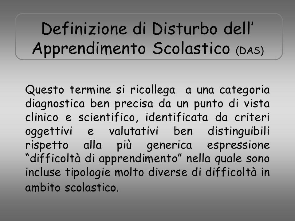 Definizione di Disturbo dell' Apprendimento Scolastico (DAS)