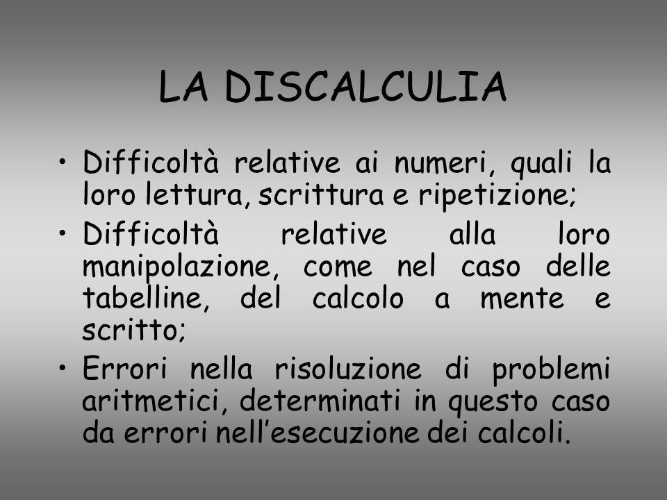 LA DISCALCULIA Difficoltà relative ai numeri, quali la loro lettura, scrittura e ripetizione;