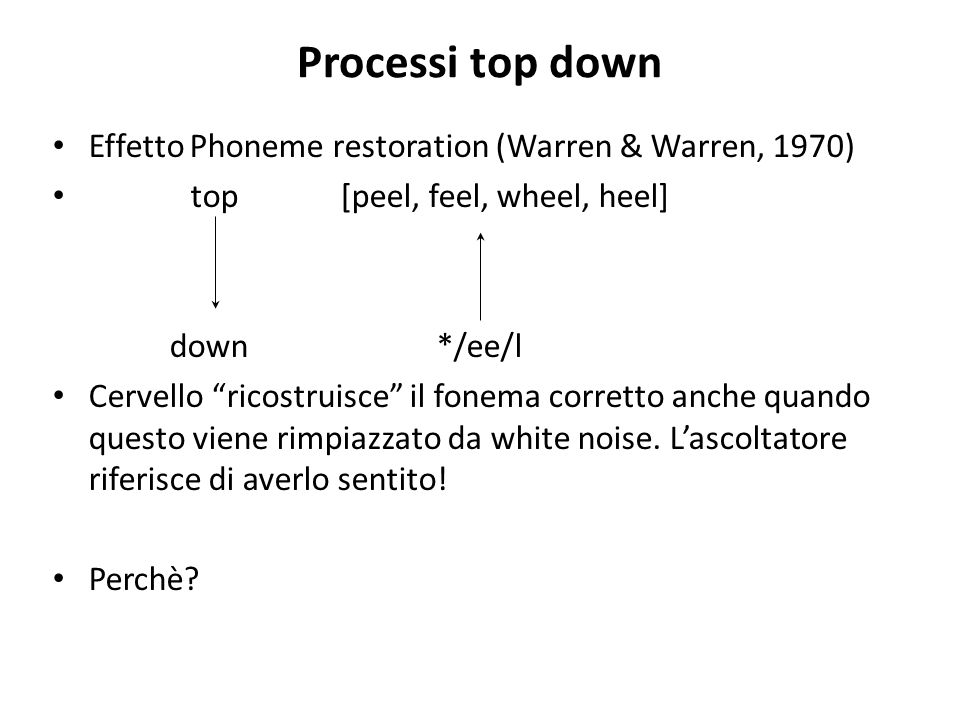 Processi top down Effetto Phoneme restoration (Warren & Warren, 1970)