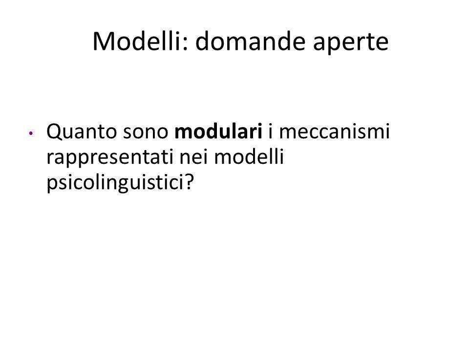 Modelli: domande aperte