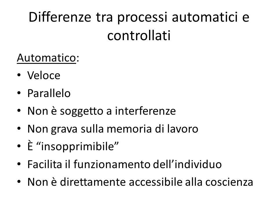 Differenze tra processi automatici e controllati