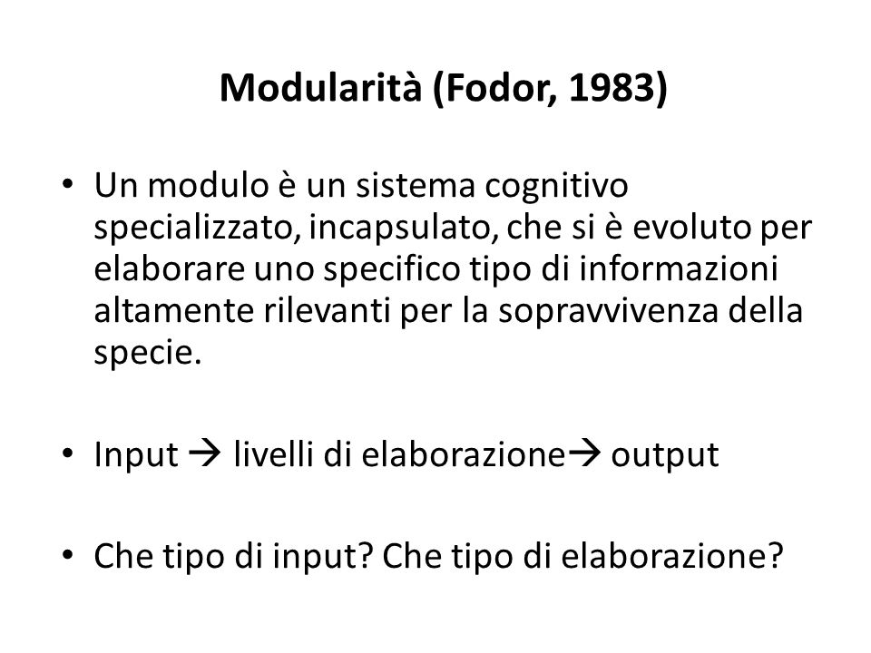 Modularità (Fodor, 1983)