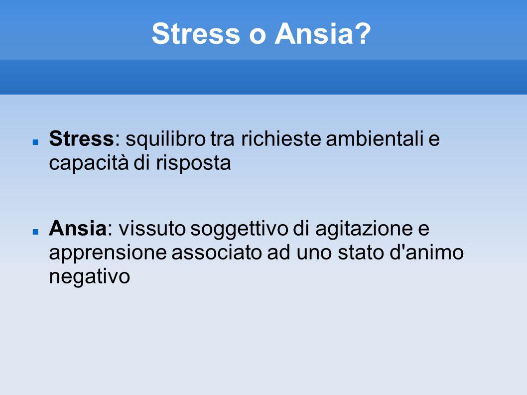 Stress o Ansia Stress: squilibro tra richieste ambientali e capacità di risposta.