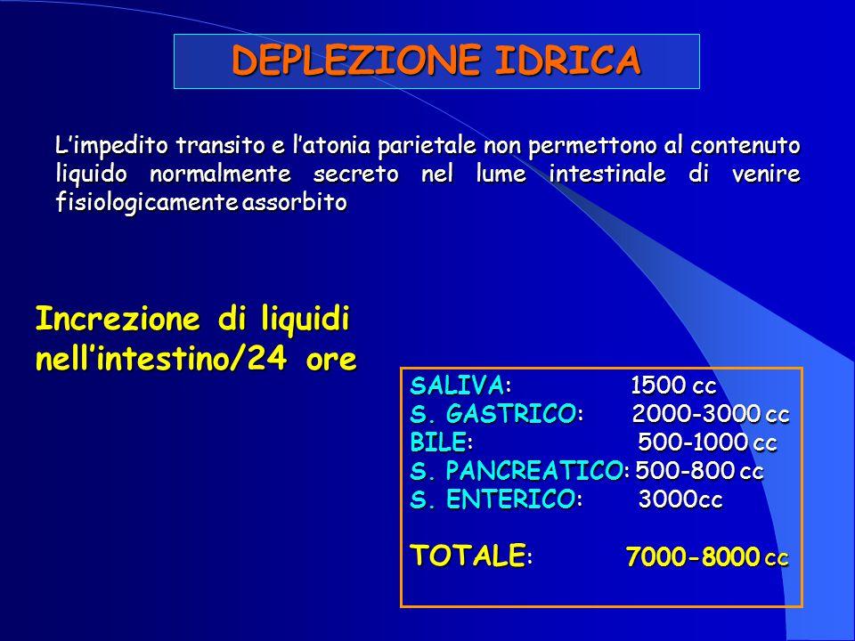 DEPLEZIONE IDRICA Increzione di liquidi nell'intestino/24 ore