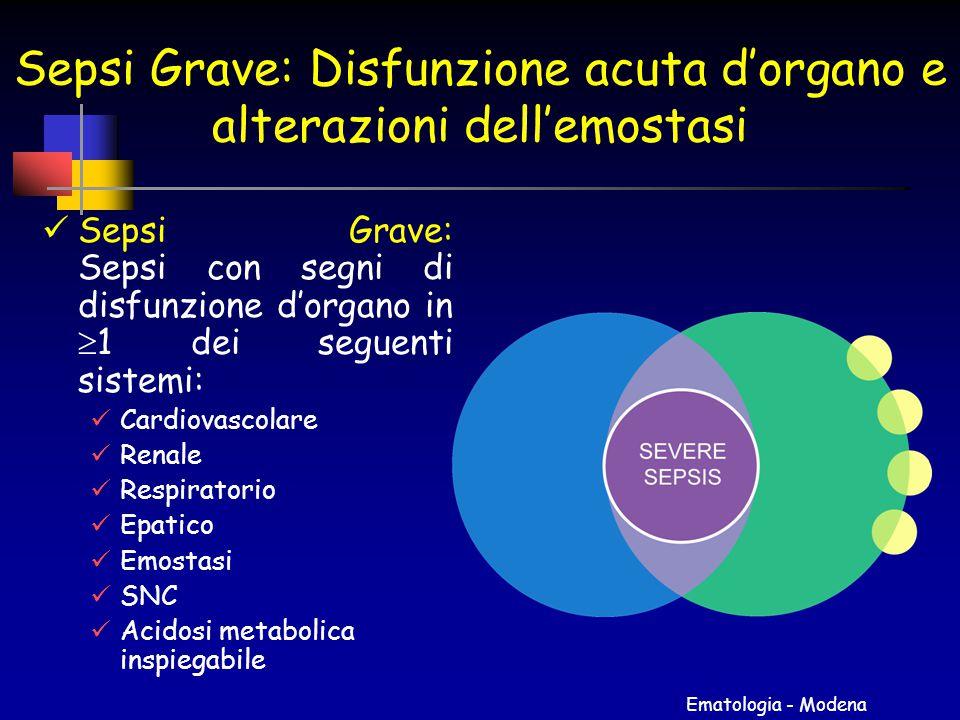 Sepsi Grave: Disfunzione acuta d'organo e alterazioni dell'emostasi