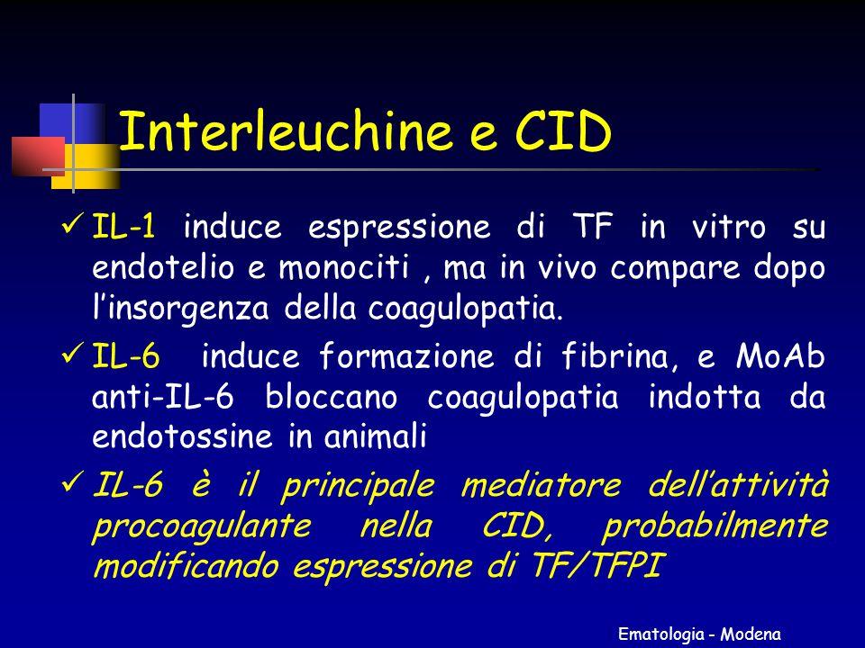 Interleuchine e CID IL-1 induce espressione di TF in vitro su endotelio e monociti , ma in vivo compare dopo l'insorgenza della coagulopatia.