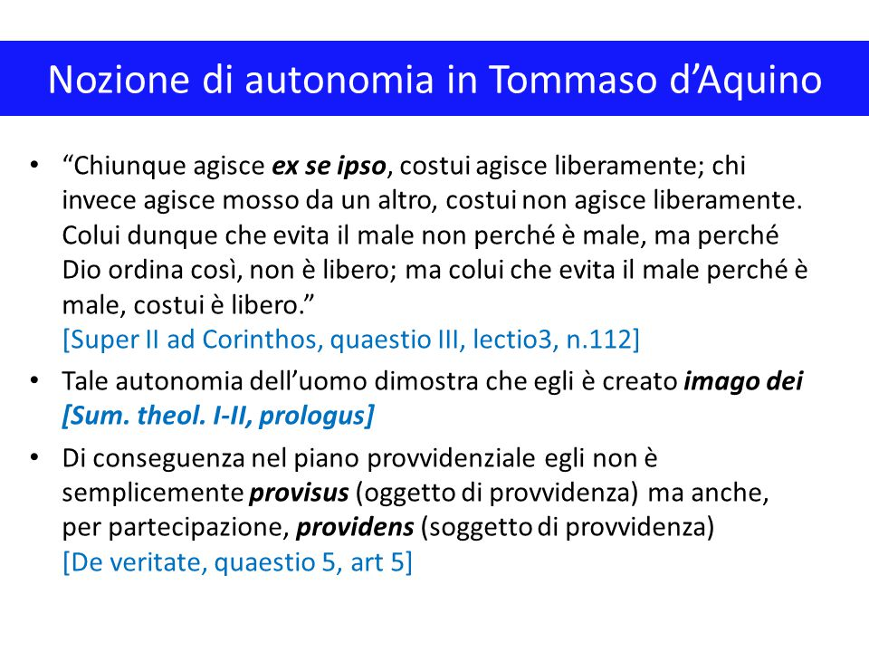 Nozione di autonomia in Tommaso d'Aquino