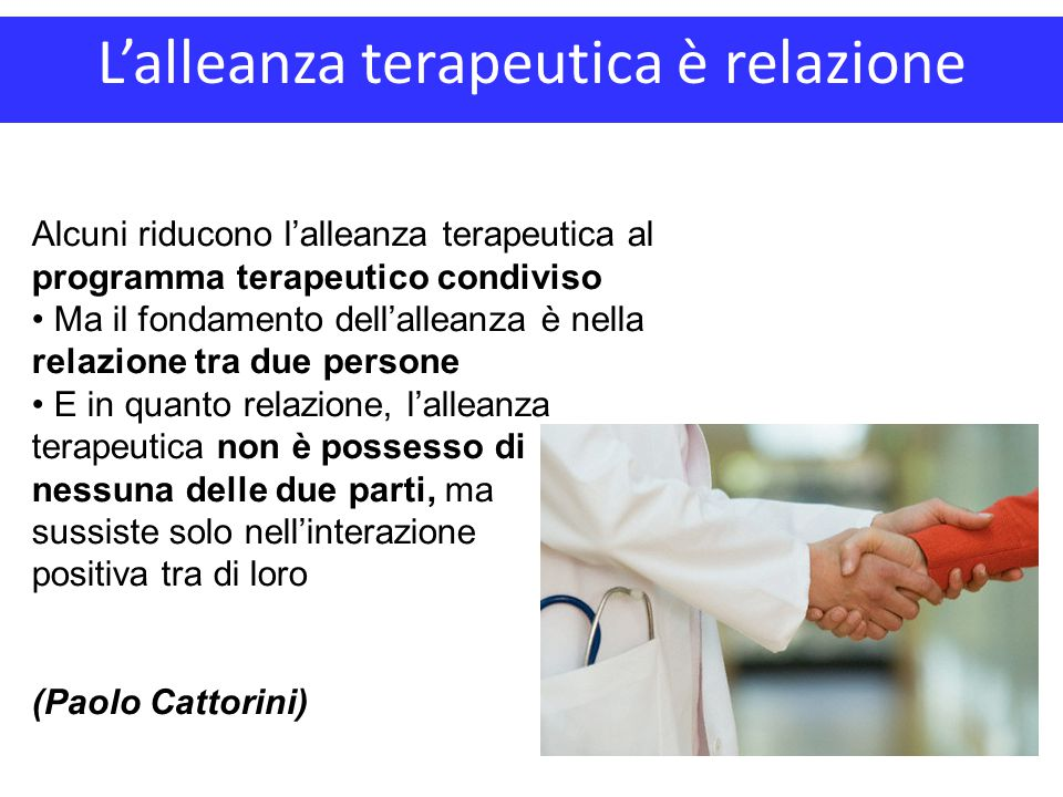 L'alleanza terapeutica è relazione