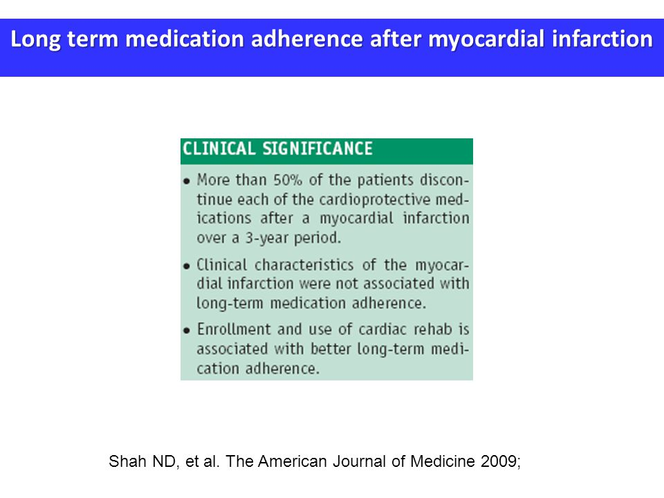 Long term medication adherence after myocardial infarction