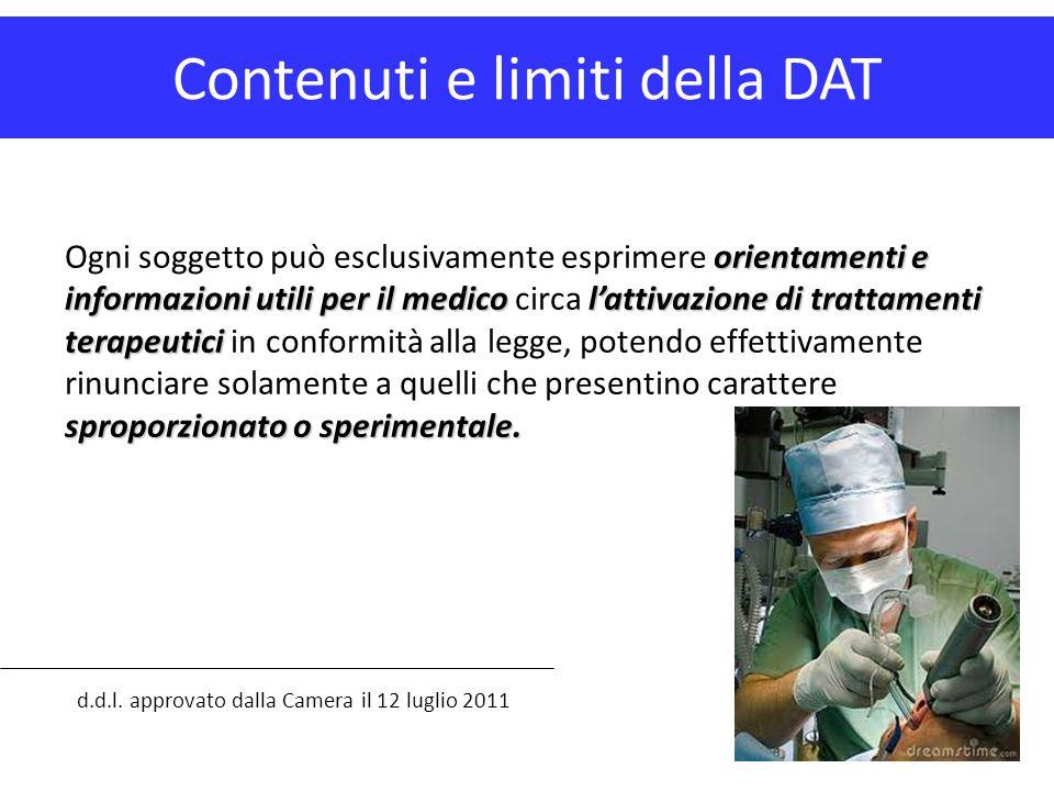 Contenuti e limiti della DAT