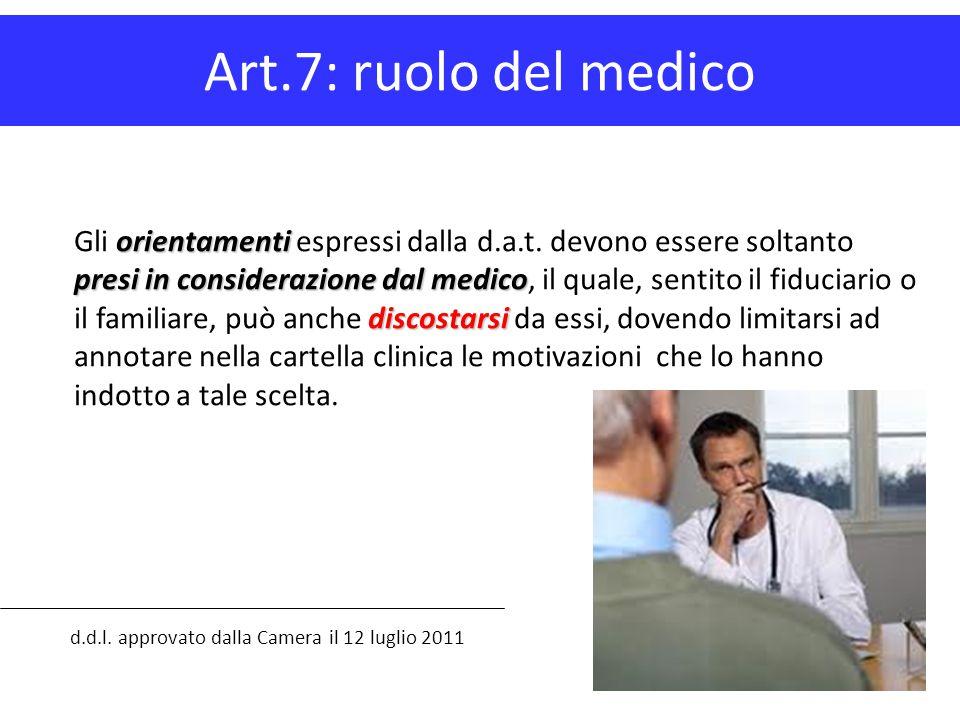 Art.7: ruolo del medico