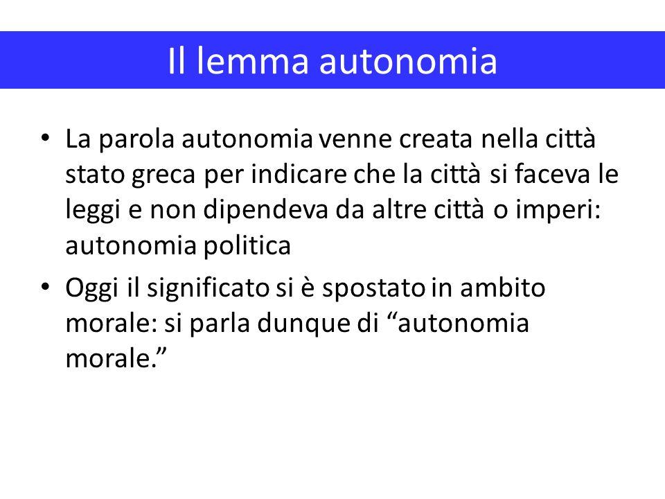 Il lemma autonomia