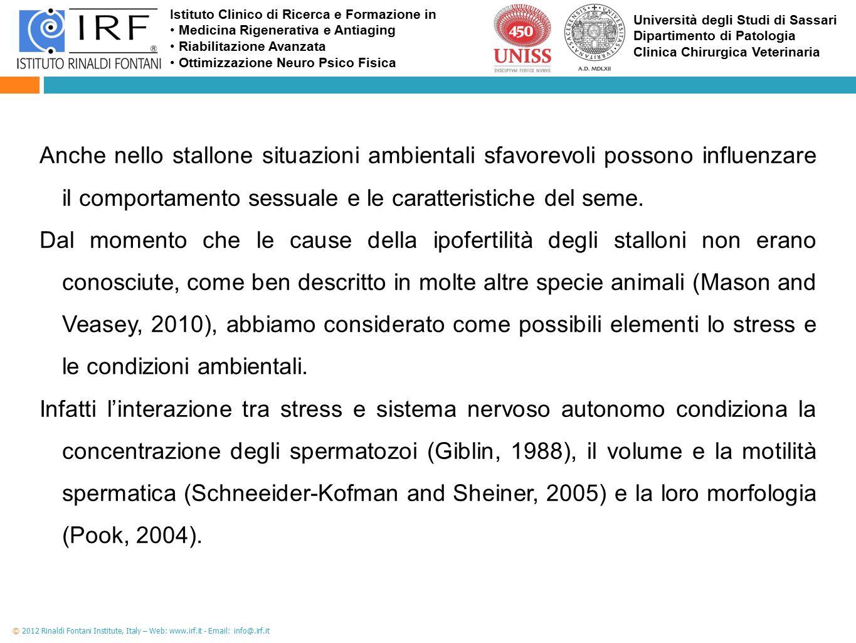 Anche nello stallone situazioni ambientali sfavorevoli possono influenzare il comportamento sessuale e le caratteristiche del seme.