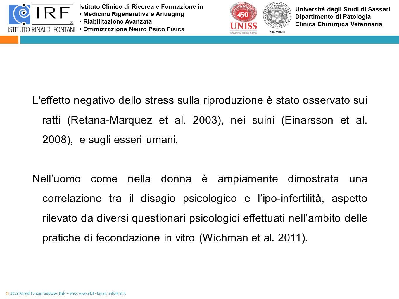 L effetto negativo dello stress sulla riproduzione è stato osservato sui ratti (Retana-Marquez et al. 2003), nei suini (Einarsson et al. 2008), e sugli esseri umani.