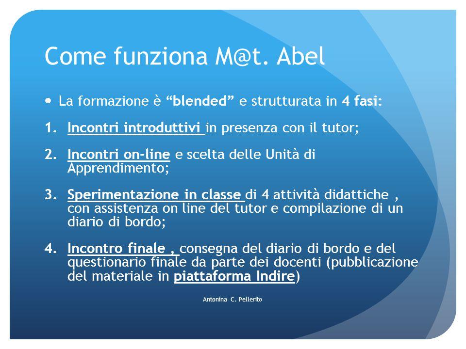 Come funziona M@t. Abel La formazione è blended e strutturata in 4 fasi: Incontri introduttivi in presenza con il tutor;