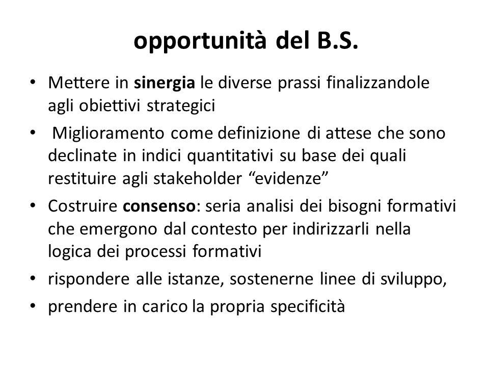 opportunità del B.S. Mettere in sinergia le diverse prassi finalizzandole agli obiettivi strategici.