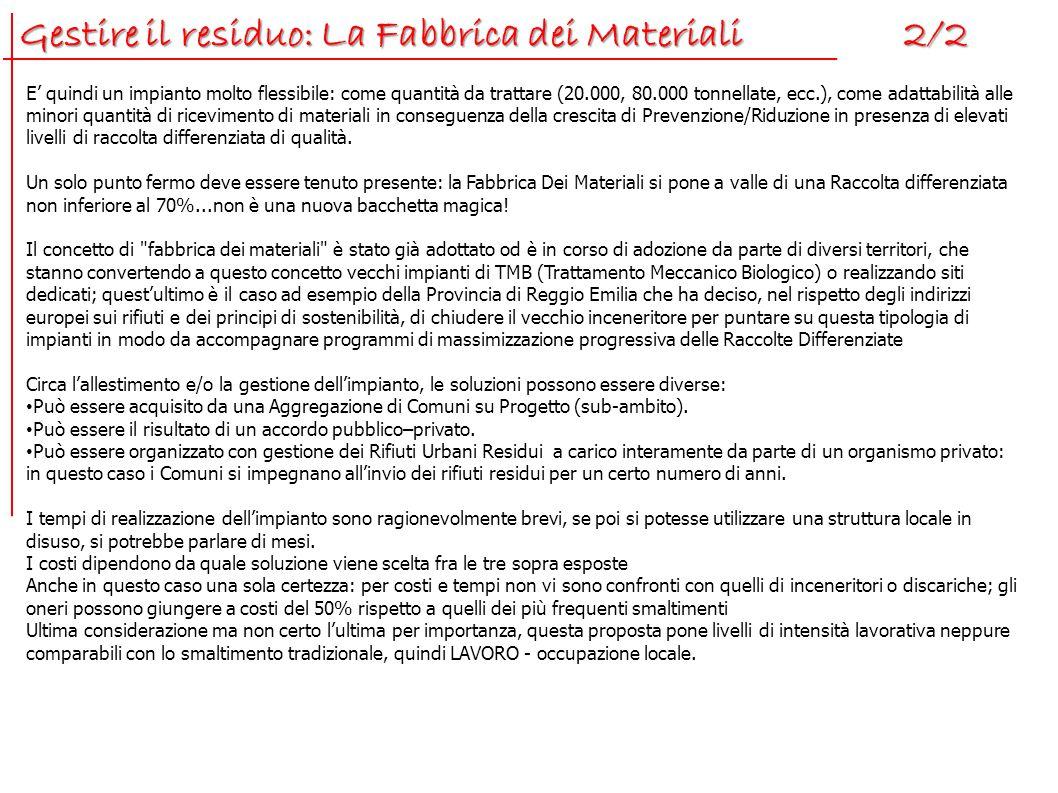 Gestire il residuo: La Fabbrica dei Materiali 2/2