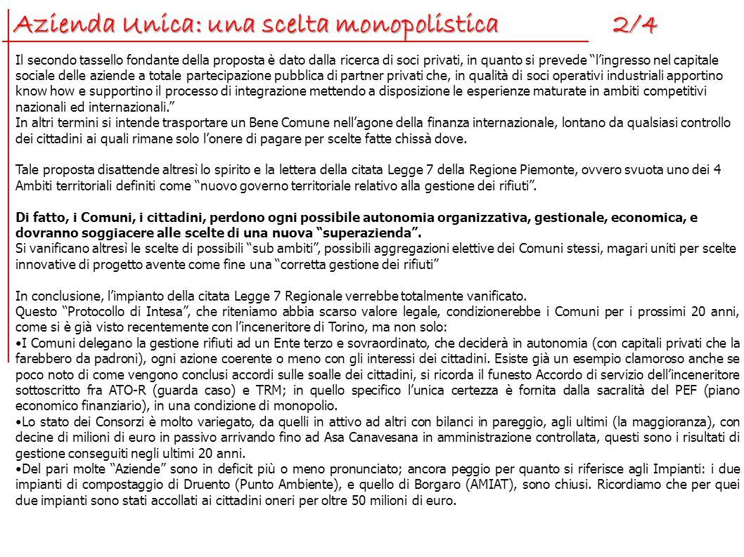 Azienda Unica: una scelta monopolistica 2/4