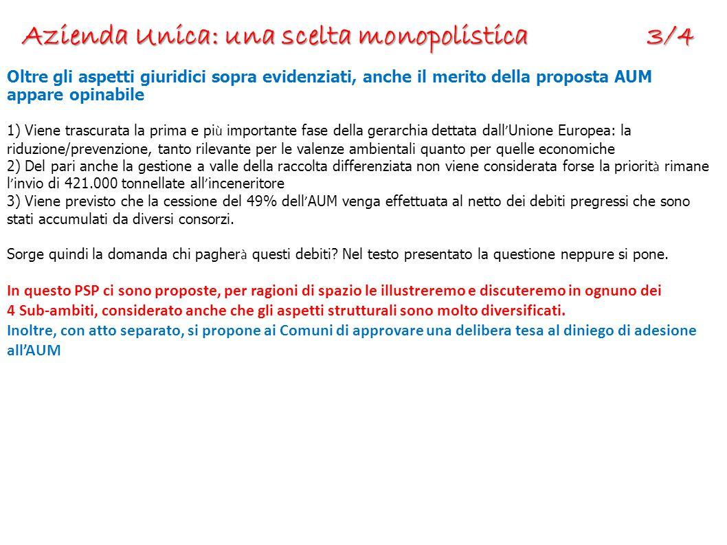 Azienda Unica: una scelta monopolistica 3/4