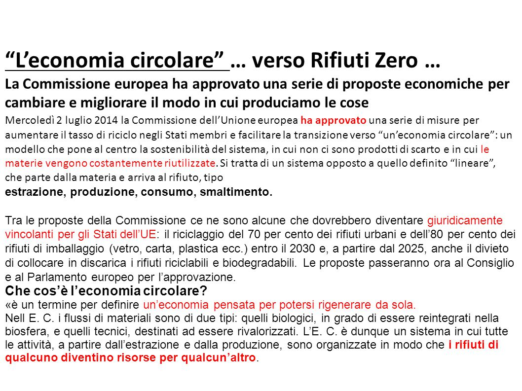 L'economia circolare … verso Rifiuti Zero …