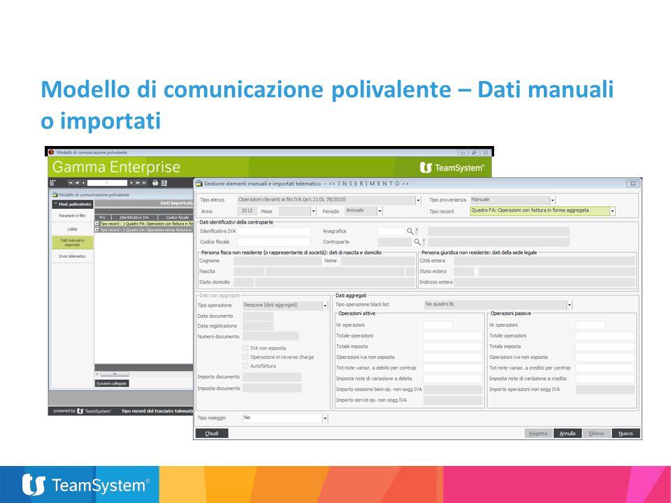 Modello di comunicazione polivalente – Dati manuali o importati