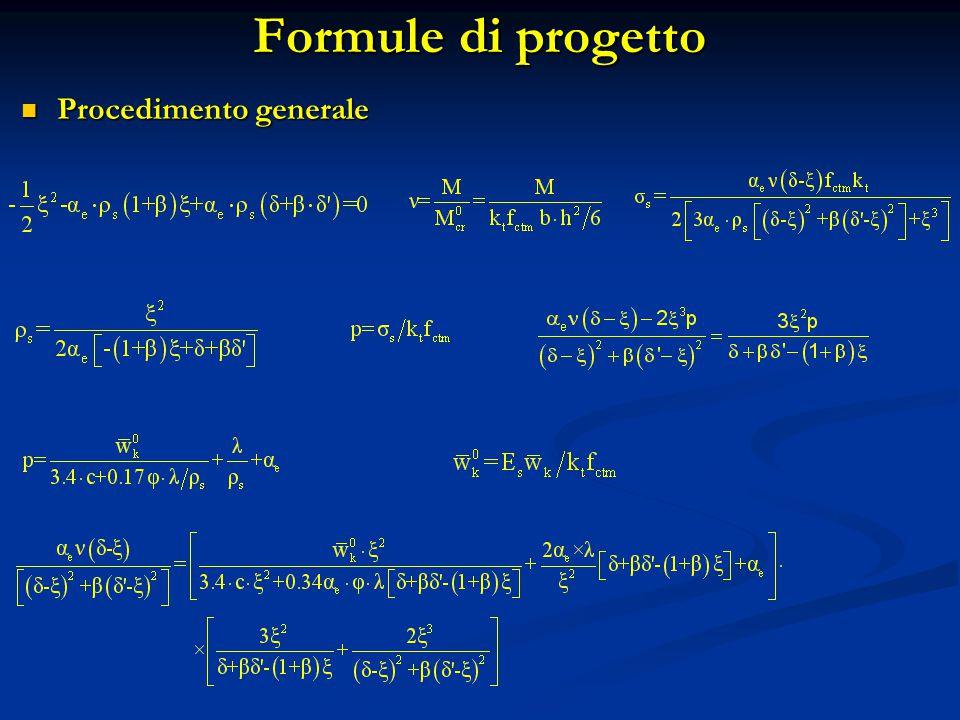 Formule di progetto Procedimento generale