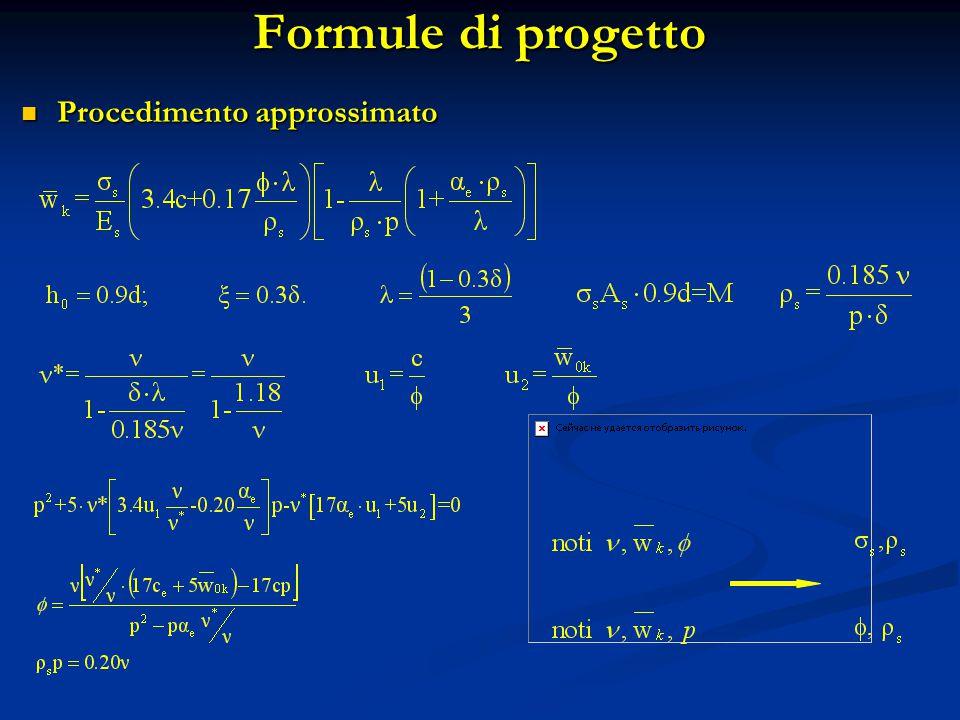 Formule di progetto Procedimento approssimato
